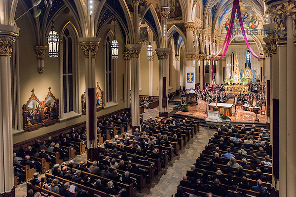 "Mar. 3, 2015; President Emeritus Rev. Edward ""Monk"" Malloy, C.S.C. reflects on the life of President Emeritus Rev. Theodore M. Hesburgh at the wake service in the Basilica of the Sacred Heart. (Photo by Matt Cashore/University of Notre Dame)"
