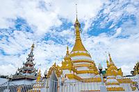 Thailand, Mae Hong Son. Wat Chong Klang Buddhist Monastery. Monks.