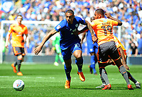 Cardiff City's Kenneth Zohore gets past Reading's Leandro Bacuna<br /> <br /> Photographer Ian Cook/CameraSport<br /> <br /> The EFL Sky Bet Championship - Cardiff City v Reading - Sunday 6th May 2018 - Cardiff City Stadium - Cardiff<br /> <br /> World Copyright &copy; 2018 CameraSport. All rights reserved. 43 Linden Ave. Countesthorpe. Leicester. England. LE8 5PG - Tel: +44 (0) 116 277 4147 - admin@camerasport.com - www.camerasport.com
