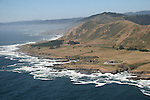 aerial view of the Coast of  Mendocino County, north of Fort Bragg, including Pacific Star Winery, Northern California