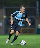 Garry Thompson of Wycombe Wanderers on the ball during the Capital One Cup match between Wycombe Wanderers and Fulham at Adams Park, High Wycombe, England on 11 August 2015. Photo by Andy Rowland.