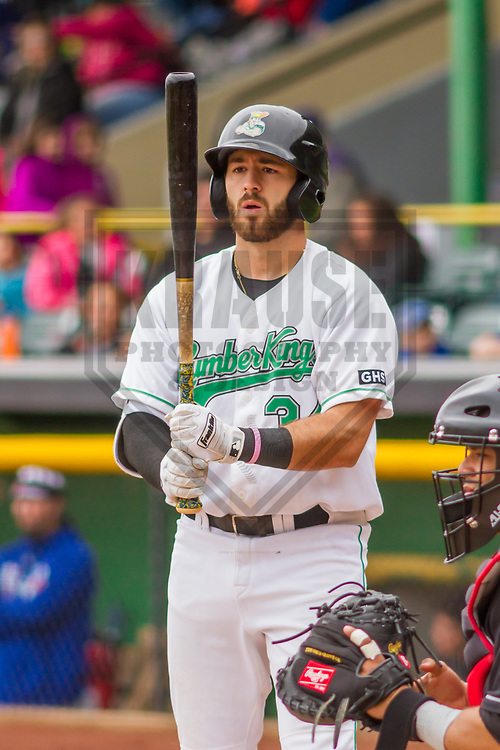 Clinton LumberKings first baseman Nick Zammarelli (34) during a Midwest League game against the Lansing Lugnuts on May 9, 2017 at Ashford University Field in Clinton, Iowa.  Lansing defeated Clinton 11-6. (Brad Krause/Krause Sports Photography)