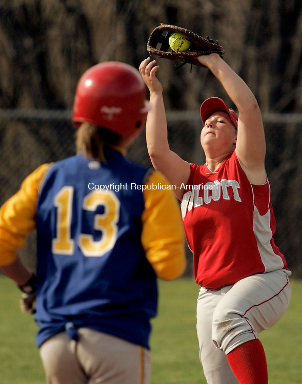 WOLCOTT, CT- 05 MAY 2005-050505JS07--Wolcott's Heather Sharkey catches a pop-fly by Seymour's Erin Haggerty (13) during their game Friday at Wolcott High School.  --- Jim Shannon Photo--Heather Sharkey; Seymour; Wolcott, Erin Haggerty are CQ
