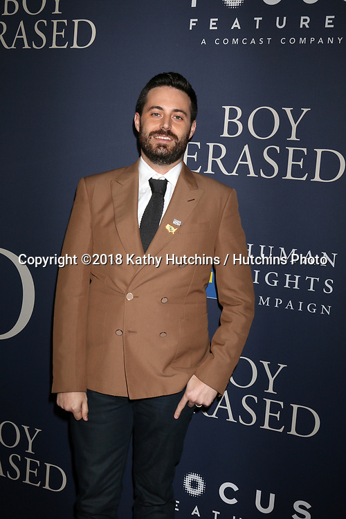 """LOS ANGELES - OCT 29:  Garrard Conley at the """"Boy Erased"""" Premiere at the Directors Guild of America Theater on October 29, 2018 in Los Angeles, CA"""