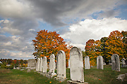 Chester Village Cemetery in Chester, New Hampshire USA during the autumn months. This cemetery is listed on the National Register of Historical Places.
