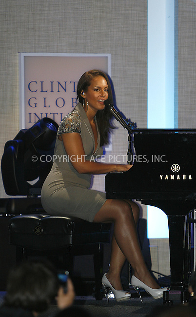 WWW.ACEPIXS.COM . . . . .  ....September 24 2009, New York City....Alicia Keys performed at the Clinton Global Initiative on September 24 2009 in New York City....Please byline: NANCY RIVERA- ACE PICTURES.... *** ***..Ace Pictures, Inc:  ..tel: (212) 243 8787 or (646) 769 0430..e-mail: info@acepixs.com..web: http://www.acepixs.com