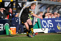 Joe Carlisle of London Wasps takes a conversion attempt during the Aviva Premiership match between London Wasps and Sale Sharks at Adams Park on Saturday 1st March 2014 (Photo by Rob Munro)