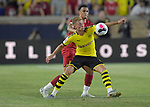 Football: Test Match, Liverpool FC - Borussia Dortmund.Liverpool defender Trent Alexander-Arnold (66, left) vies for the ball with Borussia Dortmund forward Thorgan Hazard (23) in their exhibition match on July 19, 2019 at Notre Dame Stadium. <br /> Tim Vizer/DPA