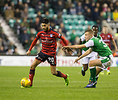 4th November 2017, Easter Road, Edinburgh, Scotland; Scottish Premiership football, Hibernian versus Dundee; Dundee's Faissal El Bakhtaoui goes past Hibernian's Ryan Porteous