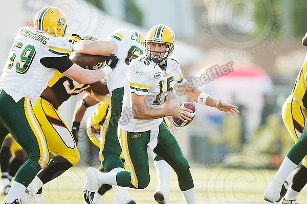 July 25, 2008; Hamilton, ON, CAN; Edmonton Eskimos quarterback Ricky Ray (15). CFL football - Edmonton Eskimos versus Hamilton Tiger-Cats at Ivor Wynne Stadium. The Eskimos defeated the Tiger-Cats 19-13. Mandatory Credit: Ron Scheffler-ronscheffler.com. Copyright (c) Ron Scheffler