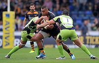 High Wycombe, England. Nathan Hughes of Wasps in action during the Aviva Premiership match between Wasps and Northampton Saints at Adams Park on September 14, 2014 in High Wycombe, England.