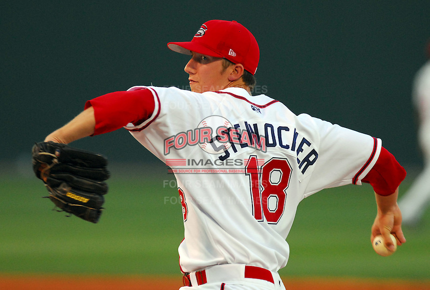 29 May 2007: Brian Steinocher of the Greenville Drive, Class A South Atlantic League affiliate of the Boston Red Sox, in a game against the Hickory Crawdads at West End Field in Greenville, S.C. Photo by:  Tom Priddy/Four Seam Images