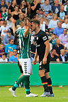 11.08.2019, Stadion Lohmühle, Luebeck, GER, DFB-Pokal, 1. Runde VFB Lübeck vs 1.FC St. Pauli<br /> <br /> DFB REGULATIONS PROHIBIT ANY USE OF PHOTOGRAPHS AS IMAGE SEQUENCES AND/OR QUASI-VIDEO.<br /> <br /> im Bild / picture shows<br /> Daniel Halke (VfB Luebeck) und Dimitrios Diamantakos (FC St. Pauli) geraten aneinander.<br /> <br /> Foto © nordphoto / Tauchnitz