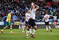 Bolton Wanderers' Callum Connolly rues a near miss  <br /> <br /> Photographer Andrew Kearns/CameraSport<br /> <br /> The EFL Sky Bet Championship - Bolton Wanderers v Norwich City - Saturday 16th February 2019 - University of Bolton Stadium - Bolton<br /> <br /> World Copyright © 2019 CameraSport. All rights reserved. 43 Linden Ave. Countesthorpe. Leicester. England. LE8 5PG - Tel: +44 (0) 116 277 4147 - admin@camerasport.com - www.camerasport.com