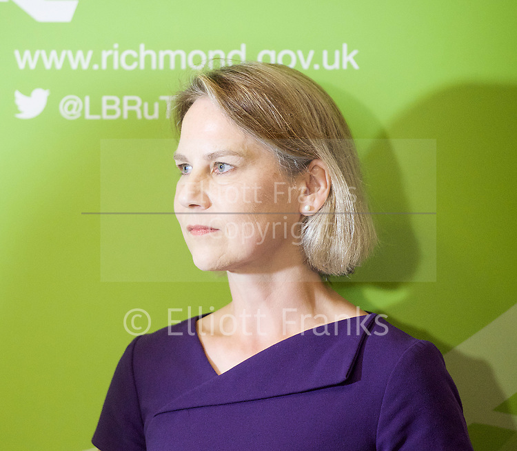 General Election count for the Twickenham &amp; Richmond Park constituencies at the Twickenham Rugby Stadium, Twickenham, Middlesex, Great Britain <br /> 8th June 2017 <br /> <br /> Vince Cable <br /> wins Twickenham seat <br /> Tania Mathias <br /> Conservative <br /> looses her seat <br /> <br /> <br /> Photograph by Elliott Franks <br /> Image licensed to Elliott Franks Photography Services