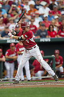 Arkansas Razorbacks third baseman Bobby Wernes (7) at bat against the Virginia Cavaliers in Game 1 of the NCAA College World Series on June 13, 2015 at TD Ameritrade Park in Omaha, Nebraska. Virginia defeated Arkansas 5-3. (Andrew Woolley/Four Seam Images)