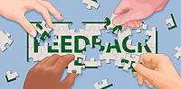 Hands cooperating to solve 'feedback' jigsaw puzzle