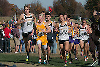 Four Lafayette runners run in the lead pack just before the mile mark in the Class 4 Boys race at the 2015 MSHSAA State Cross Country Championships in Jefferson City, Saturday, November 7. The group includes Austin Hindman (1467), Alec Haines (1465), Devin Meyrer (1469), and Dylan Quisenberry (1471).