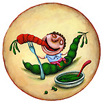 Illustration of happy boy eating carrot and peas representing healthy lifestyle