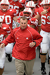 MADISON, WI - SEPTEMBER 9: Head coach Bret Bielema of the Wisconsin Badgers leads his team onto the field prior to the game against the Western Illinois Leathernecks at Camp Randall Stadium on September 9, 2006 in Madison, Wisconsin. The Badgers beat the Leathernecks 34-10. (Photo by David Stluka)