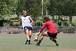 CARY, NC - MAY 10: Lynn Williams (9) and Marzia Josephson (right). The North Carolina Courage held a training session on May 10, 2017, at WakeMed Soccer Park Field 7 in Cary, NC.