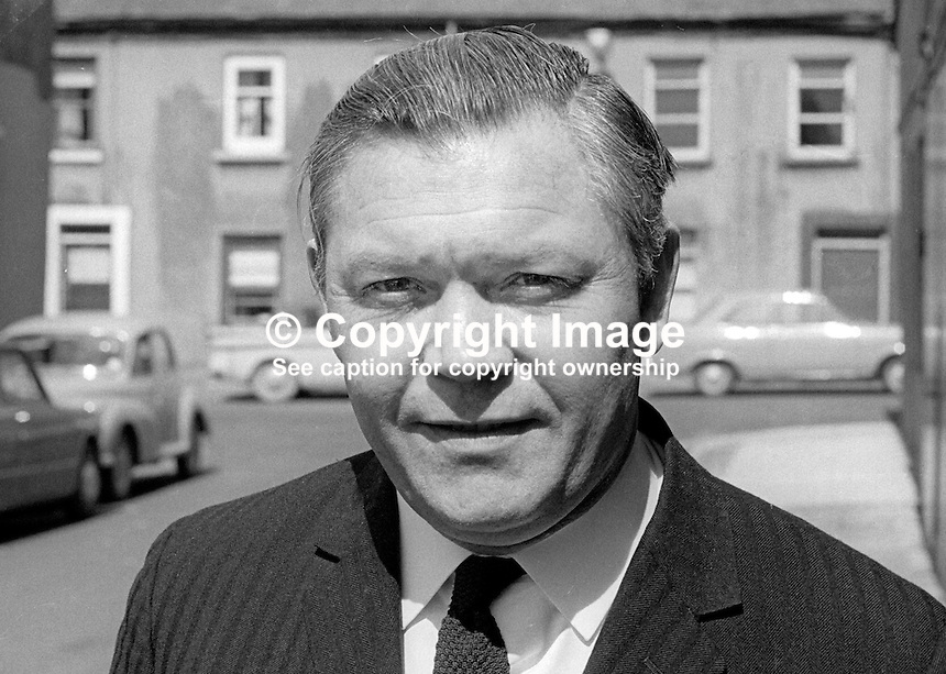 Harold Black, director, Black &amp; Company (Newtownards) Limited, chairman, Ards Football Club, Newtownards, Co Down, N Ireland, UK, April 1970. 197004000129<br />