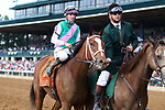 """October 06, 2018 : #7 Golden Mischief and jockey Florent Geroux win the 38th running of the Thoroughbred Club of America (Grade 2) $250,000 """"Win and You're In Breeders' Cup Filly & Mare Sprint Division"""" for trainer Brad Cox and owner Juddmonte Farms at Keeneland Race Course on October 06, 2018 in Lexington, KY.  Candice Chavez/ESW/CSM"""