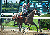 ELMONT, NY - JULY 7: Firenze Fire #7, ridden by Jose Ortiz, wins the G3 Dwyer at Belmont Park in Elmont, NY (Photo by Sophie Shore/Eclipse Sportswire/Getty Images)