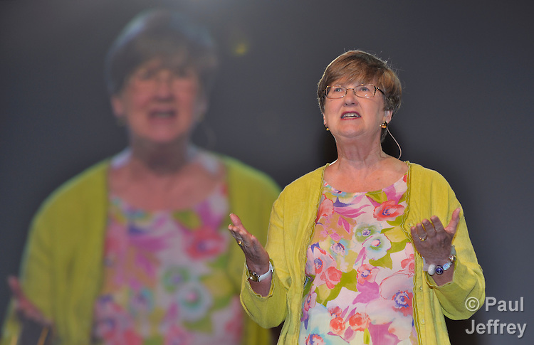Amory Peck of Bellingham, Washington, delivers part of the Laity Address to the April 25 session of the 2012 United Methodist General Conference in Tampa, Florida.
