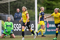 Charlotte Kerr of Watford Ladies celebrates scoring the winning goal followed by Leah Cudone of Watford Ladies during the FAWSL2 spring series match between Oxford United Women and Watford Ladies at The NorthCourt, Abingdon FC, England on 30 April 2017. Photo by Andy Rowland.