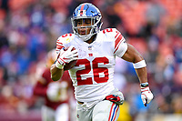 Landover, MD - December 9, 2018: New York Giants running back Saquon Barkley (26) breaks free for a 78 yard touchdown late in the first quarter of game between the New York Giants and Washington Redskins at FedEx Field in Landover, MD. The Giants defeated the Redskins 40-16 dropping the Redskins to 6-7 on the season. (Photo by Phillip Peters/Media Images International)