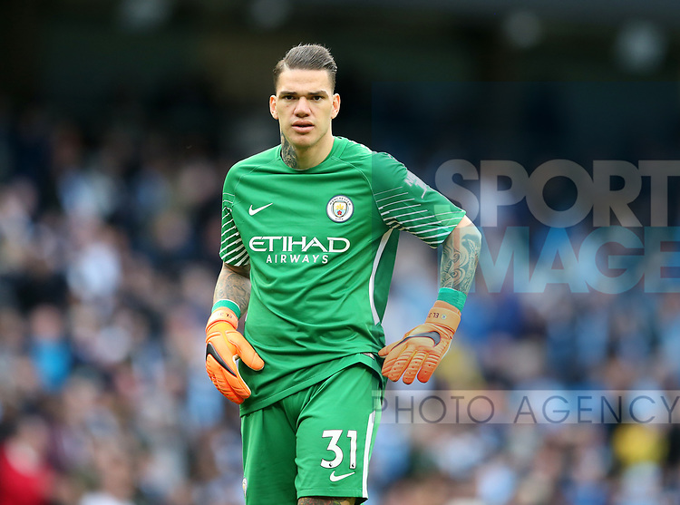 Ederson of Manchester City during the premier league match at the Etihad Stadium, Manchester. Picture date 22nd April 2018. Picture credit should read: Simon Bellis/Sportimage