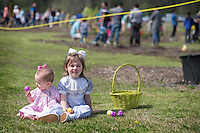 The Mississippi State Trial Gardens hosted an Easter egg hunt Saturday [March 26] for children at the R.R. Foil Plant Science Research Center, known by many as North Farm. Games, activities, prizes and a visit from the Easter Bunny all were part of the weekend event.  Following the hunt, sisters Anne Elise and Mary Neel Hearnsberger pause to admire their favorite eggs and pose for photos.<br />
