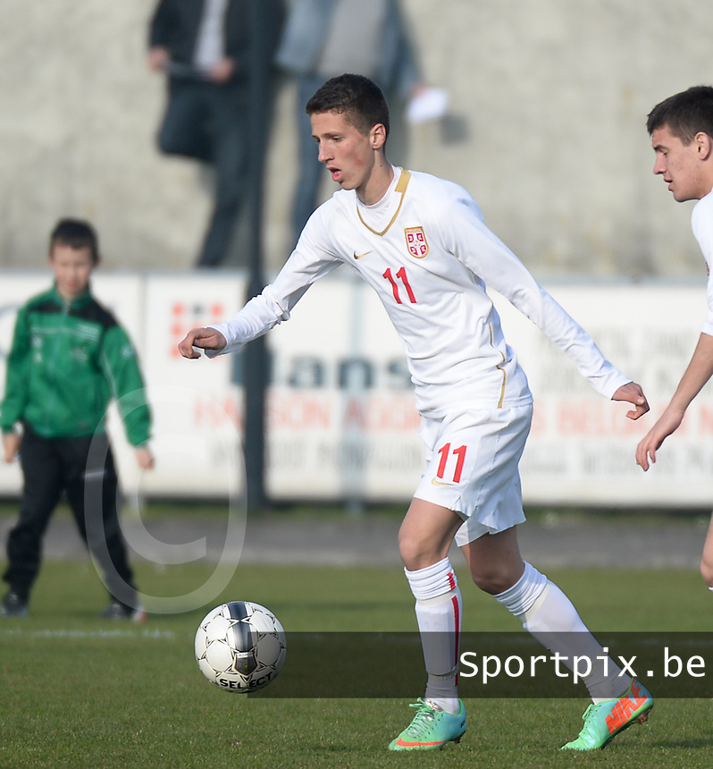 20140314 - HEIST , BELGIUM : Serbian Petar Milic pictured during a friendly soccer match between the Under16 soccerteams of Belgium and Serbia , Friday 14 March 2014 in Heist . PHOTO DAVID CATRY