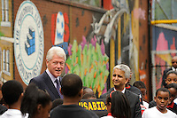 Former President Bill Clinton address the media during press conference announcing former President Bill Clinton as the honorary chairman of the USA Bid Committee to host the FIFIA World Cup in 2018 or 2022 at the FC Harlem Field in Harlem, NY, on May 17, 2010.
