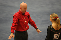 8 April 2006: Stanford's Mike Lorentzen talks with Natalie Foley during the NCAA West Regional women's gymnastics championships at Maples Pavilion in Stanford, CA.