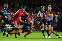 Joe Marchant of Harlequins is tackled by Alex Lozowski of Saracens. Gallagher Premiership match, between Harlequins and Saracens on October 6, 2018 at the Twickenham Stoop in London, England. Photo by: Patrick Khachfe / JMP