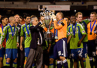 Kasey Keller, Sunil Gulati. The Seattle Sounders defeated DC United, 2-1, to win the 2009 Lamr Hunt U.S. Open Cup at RFK Stadium in Washington, DC.