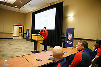 Bradenton, FL : James Bunce speaks to US Soccer athletes during a presentation in Bradenton, Fla., on January 4, 2018. (Photo by Casey Brooke Lawson)