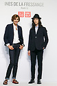 (L to R) French model and fashion designer Ines de la Fressange and fashion model Louis Kurihara, pose for the cameras during a media event for Uniqlo x Ines de La Fressange AW17 collection, on September 5, 2017, Tokyo, Japan. Japanese casual clothing chain Uniqlo and French fashion icon Ines de la Fressange are collaborating with a Fall/Winter 2017 collection which is being sold in selected Uniqlo stores from September 1st. (Photo by Rodrigo Reyes Marin/AFLO)