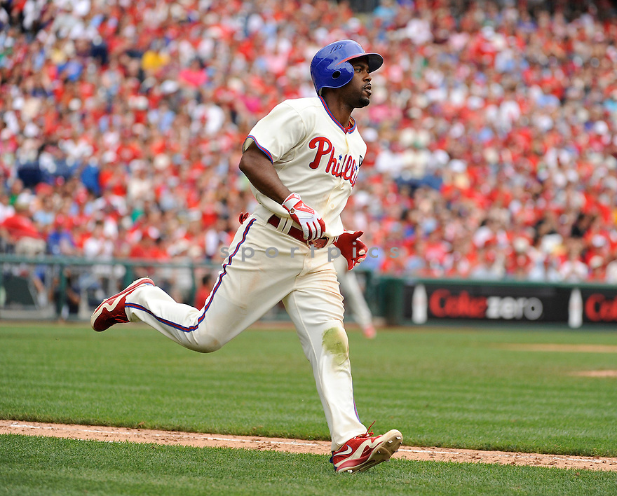 JIMMY ROLLINS, of the Philadelphia Phillies in action during the Phillies game against the Oakland A's on June 26, 2011 at Citizens Bank Park in Philadelphia Pennsylvania. The Phillies beat the A's 3-1.