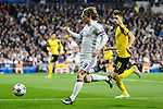 Real Madrid's Luka Modric and Borussia Dortmund Julian Weigl during the UEFA Champions League match between Real Madrid and Borussia Dortmund at Santiago Bernabeu Stadium in Madrid, Spain. December 07, 2016. (ALTERPHOTOS/BorjaB.Hojas)