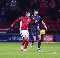 Lincoln City's Jason Shackell vies for possession with  Crewe Alexandra's Jordan Bowery<br /> <br /> Photographer Andrew Vaughan/CameraSport<br /> <br /> The EFL Sky Bet League Two - Crewe Alexandra v Lincoln City - Wednesday 26th December 2018 - Alexandra Stadium - Crewe<br /> <br /> World Copyright &copy; 2018 CameraSport. All rights reserved. 43 Linden Ave. Countesthorpe. Leicester. England. LE8 5PG - Tel: +44 (0) 116 277 4147 - admin@camerasport.com - www.camerasport.com