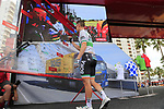 Irish Champion Sam Bennett (IRL) Bora-Hansgrohe at sign on before the start of Stage 4 of La Vuelta 2019 running 175.5km from Cullera to El Puig, Spain. 27th August 2019.<br /> Picture: Eoin Clarke | Cyclefile<br /> <br /> All photos usage must carry mandatory copyright credit (© Cyclefile | Eoin Clarke)