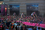 Team Sunweb arrive on stage at the Team Presentation before the 101st edition of the Giro d'Italia 2018. Jerusalem, Israel. 3rd May 2018.<br /> Picture: LaPresse/Marco Alpozzi | Cyclefile<br /> <br /> <br /> All photos usage must carry mandatory copyright credit (&copy; Cyclefile | LaPresse/Marco Alpozzi)