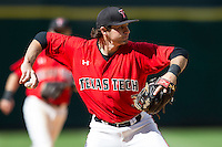 Texas Tech Red Raiders third baseman Jake Barrios #3 makes a throw to first base during the NCAA baseball game against the Sam Houston State Bearkats on March 1, 2014 during the Houston College Classic at Minute Maid Park in Houston, Texas. The Bearkats defeated the Red Raiders 10-6. (Andrew Woolley/Four Seam Images)