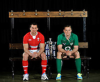 London, England.  Sam Warburton of Wales and Jamie Heaslip of Ireland pose with the Six Nations trophy during the RBS Six Nations launch at The Hurlingham Club on January 23, 2013 in London, England.