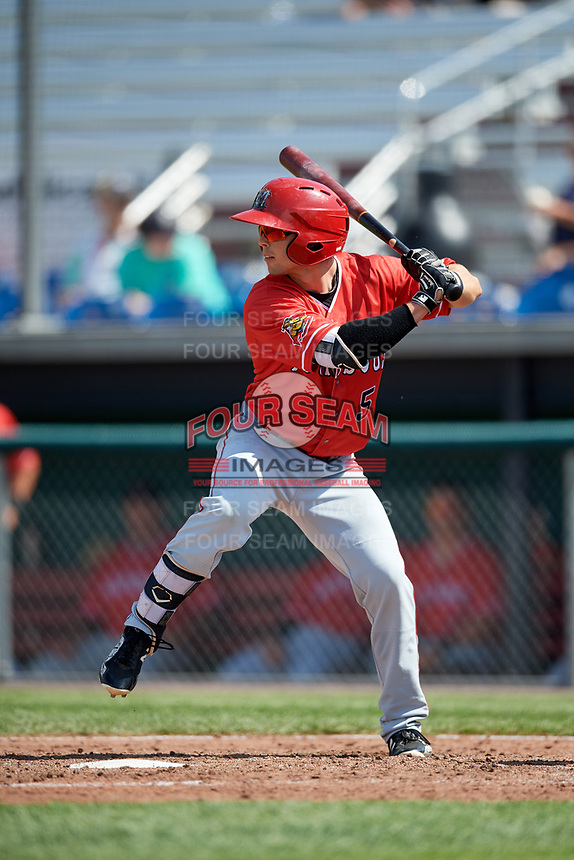 Batavia Muckdogs right fielder Harrison White (5) at bat during a game against the Auburn Doubledays on June 17, 2018 at Falcon Park in Auburn, New York.  Auburn defeated Batavia 10-6.  (Mike Janes/Four Seam Images)