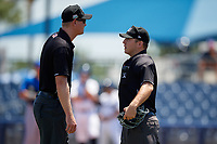Umpires Louie Krupa (left) and Brandon Blome (right) during a Florida State League game between the Dunedin Blue Jays and Charlotte Stone Crabs on April 17, 2019 at Charlotte Sports Park in Port Charlotte, Florida.  Charlotte defeated Dunedin 4-3.  (Mike Janes/Four Seam Images)