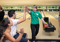 Marsha Schnirring, Chief of Administrative Affairs<br /> Incoming first-years participating in MSI bowl with members of senior staff at All Star Lanes bowling alley in Eagle Rock, July 27, 2018.<br /> The Multicultural Summer Institute (MSI) is a four-week academic/residential program for approximately 50 incoming first-year students who represent a variety of ethnic, regional and cultural backgrounds. Through MSI, Occidental College introduces its student body to the social, cultural and intellectual resources of Southern California, and familiarizes students with the Oxy community and surrounding Los Angeles area.<br /> (Photo by Marc Campos, Occidental College Photographer)